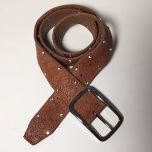 Guess Leather Belt rhinestone studs brown L 36-40